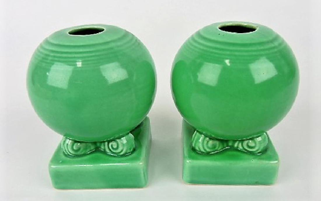 Fiesta bulb candle holders, pair, green