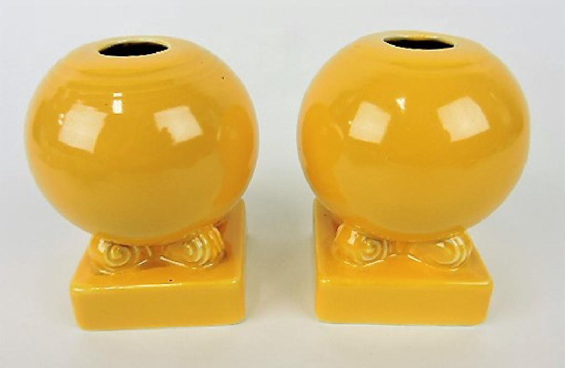 Fiesta bulb candle holders, pair, yellow