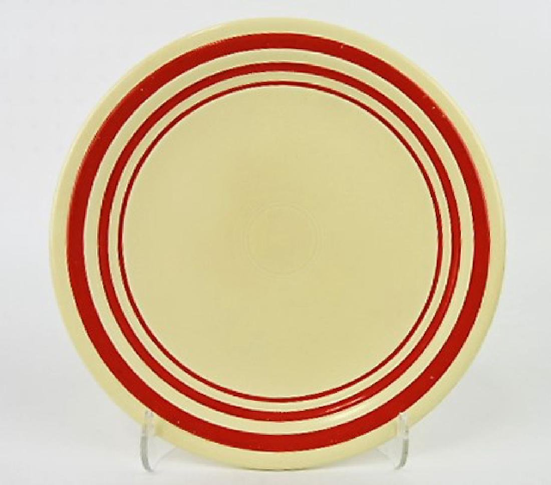 "RARE Fiesta 9"" plate, ivory with red stripes"