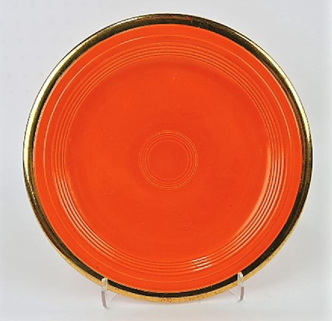 """RARE Fiesta 10"""" plate, red with gold trim,"""