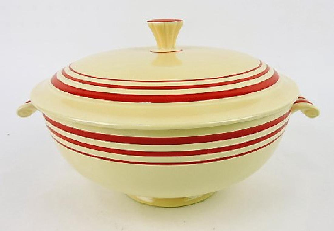 RARE Fiesta casserole, ivory with red