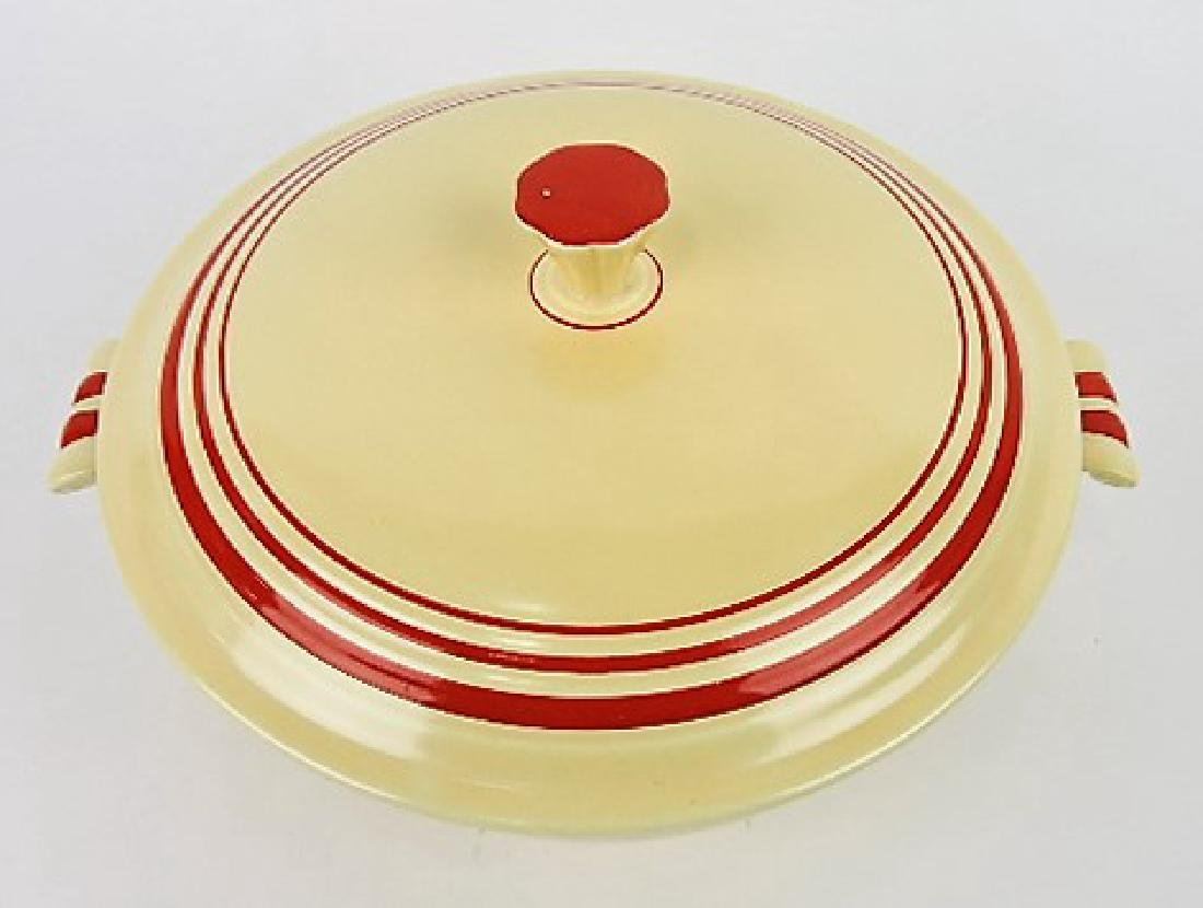RARE Fiesta casserole, ivory with red - 2
