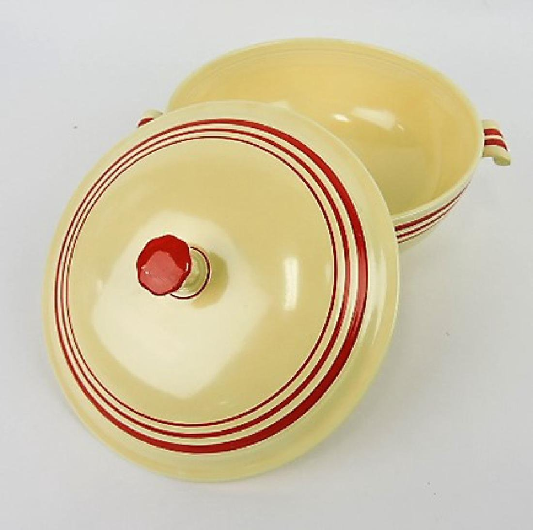 RARE Fiesta casserole, ivory with red - 3