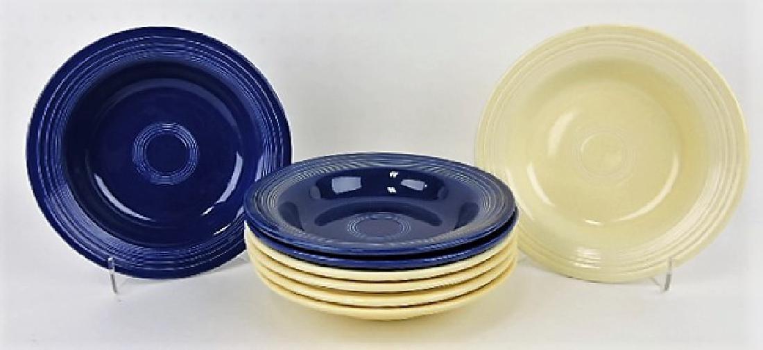 Fiesta deep plate group: 3 cobalt, 5 ivory
