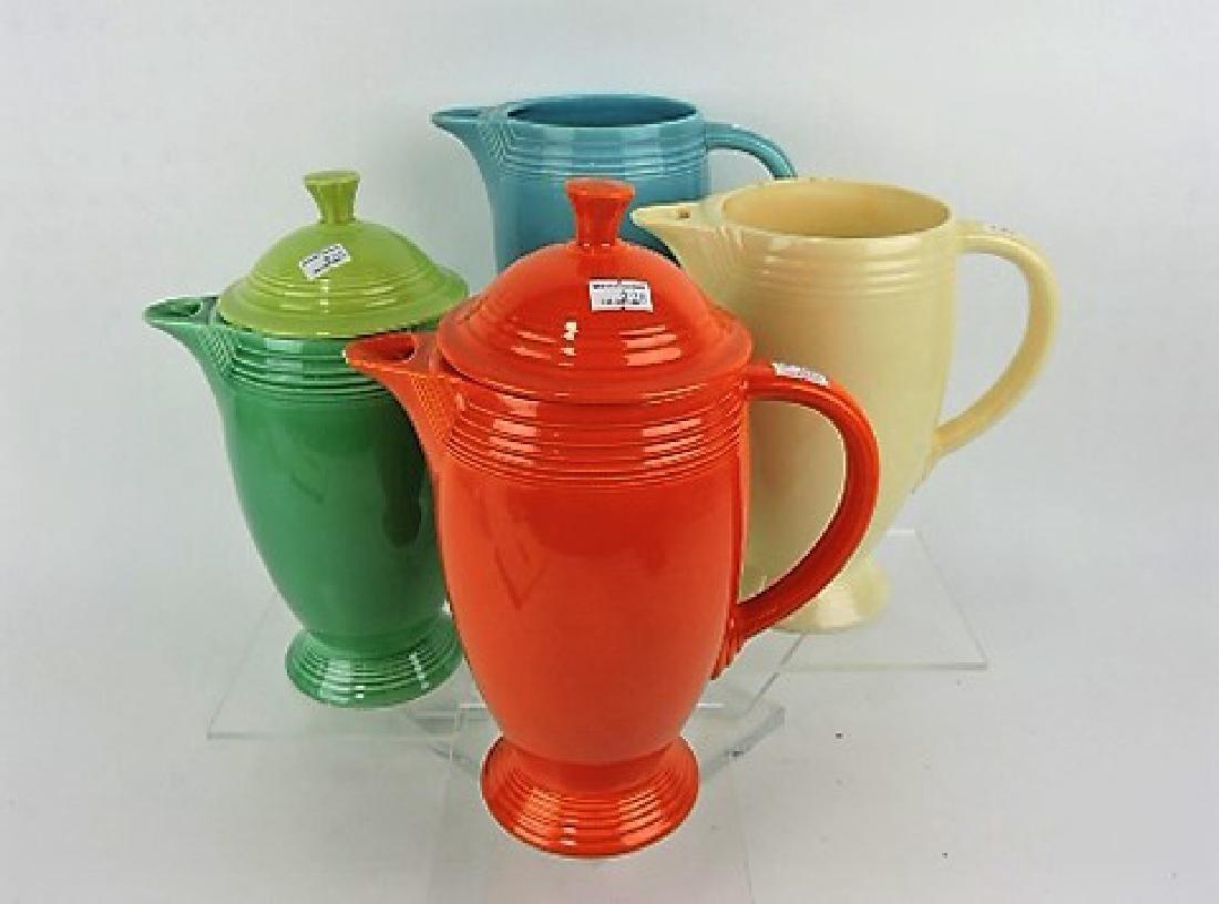 FIesta coffee pot group, 4 bases, 2 lids,