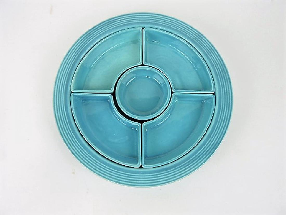 Fiesta relish tray, all turquoise