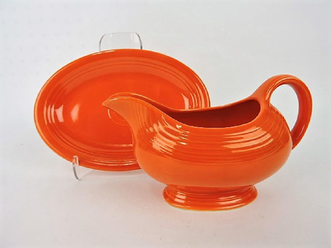 Fiesta red sauce boat with red ironstone