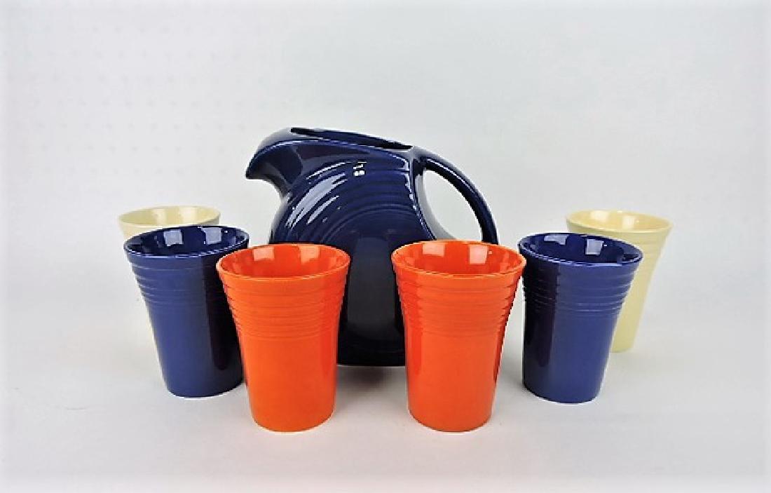 Fiesta 7 piece water set with cobalt disk