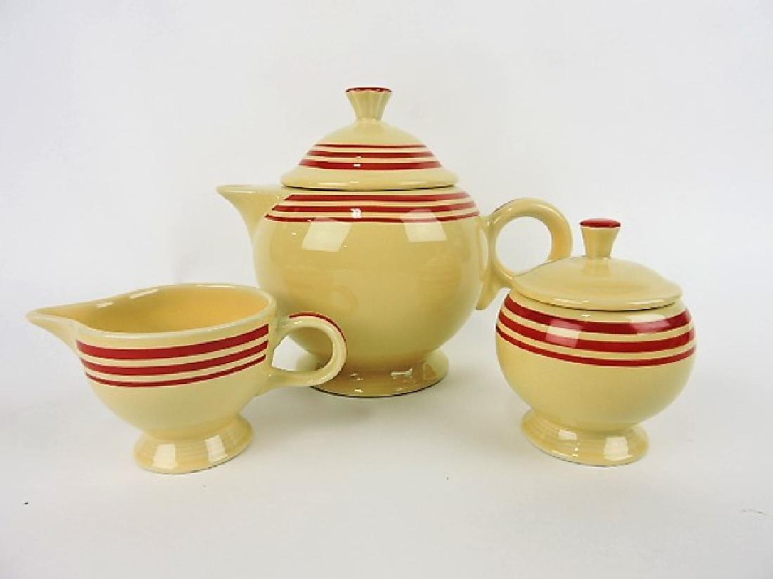 Fiesta Post 86 red stripe teapot, cream &