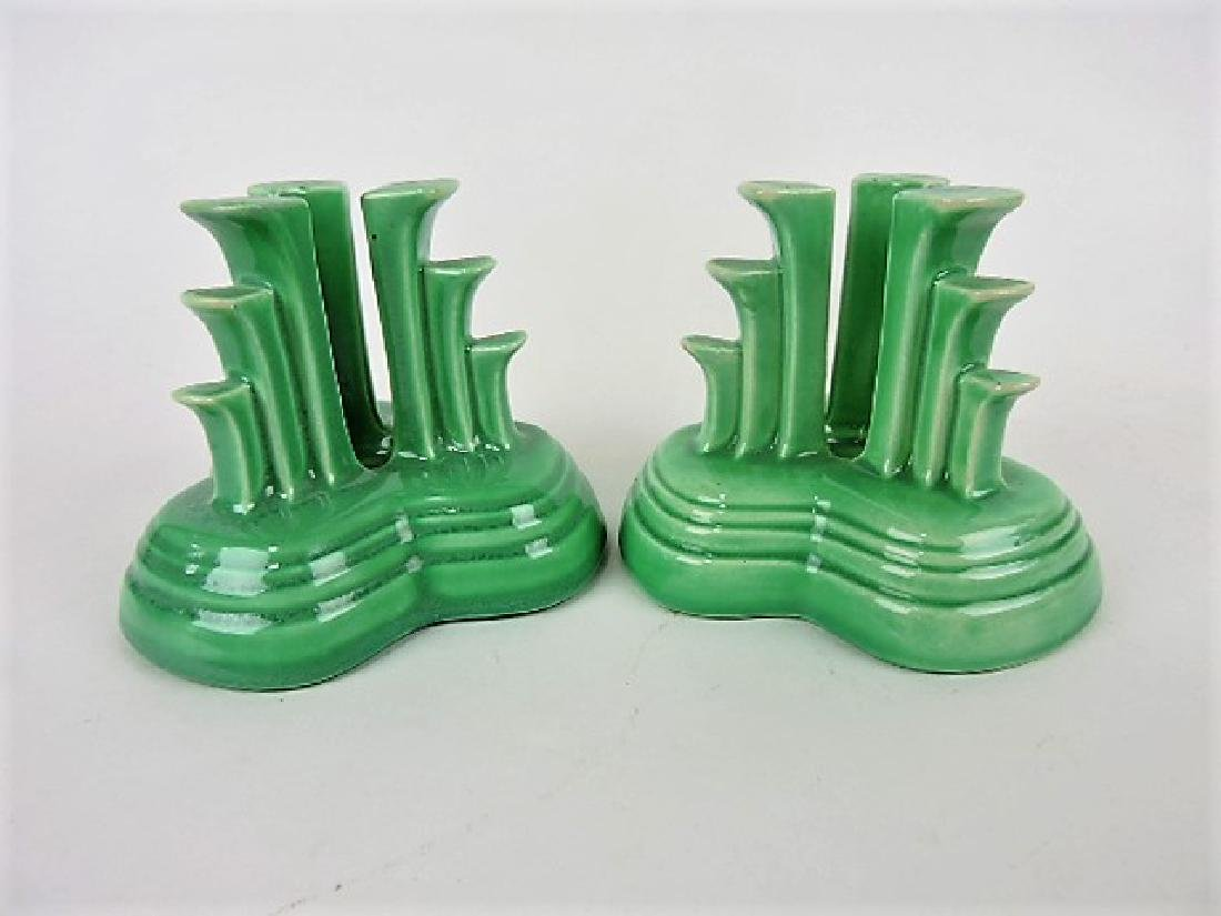 Fiesta tripod candle holder, pair, green