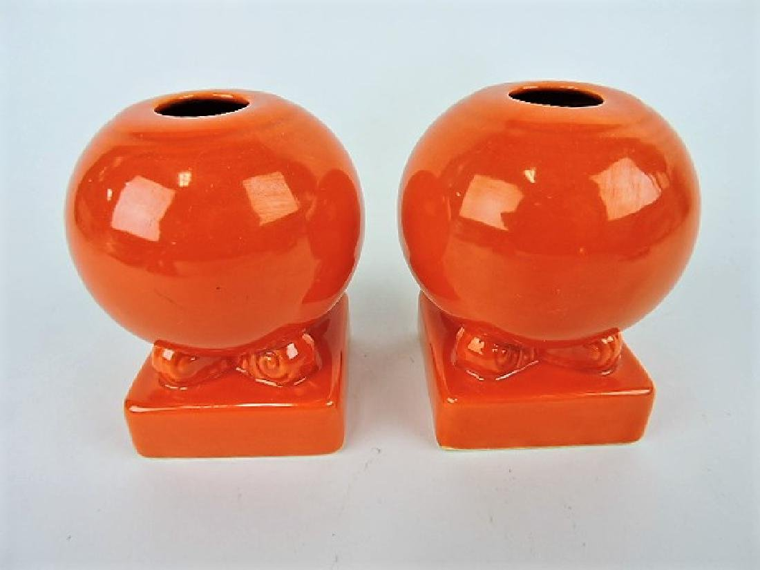 Fiesta bulb candle holder, pair, red