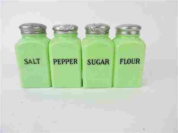 Jadeite shaker group; salt, pepper,