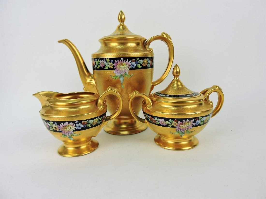 Pickard 3 piece tea set with heavy
