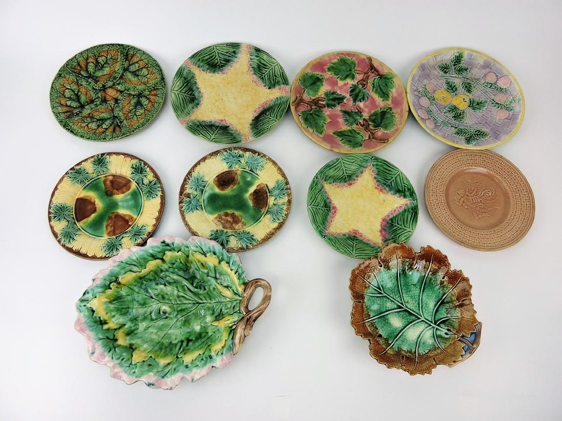 Majolica Etruscan lot of 10 plates