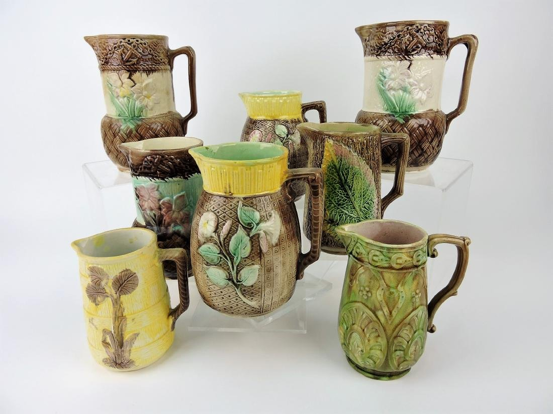 "Majolica lot of 8 pitchers, 6 - 8"","