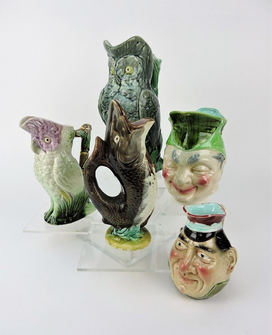 Majolica lot of 5 figural