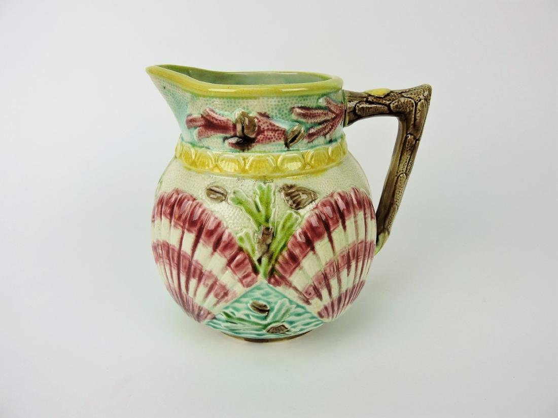Majolica shell & coral pitcher,