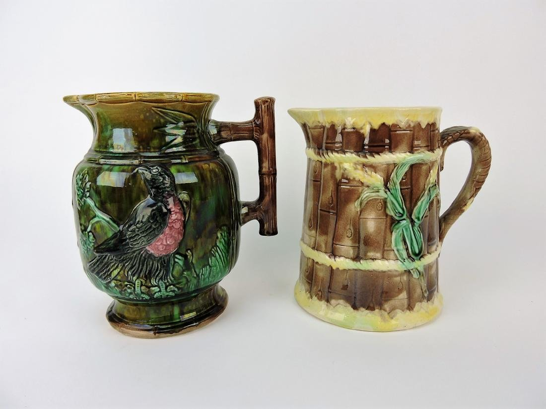"Majolica lot of 2 pitchers, 9"","