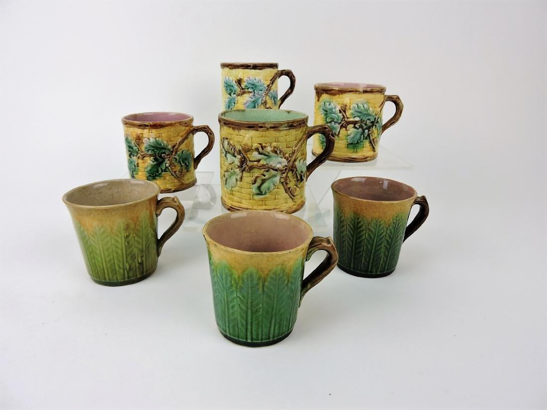 Etruscan Majolica lot of 7 mugs,