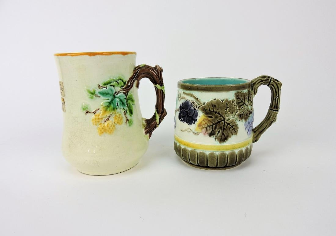 Wedgwood Majolica lot of 2 mugs,