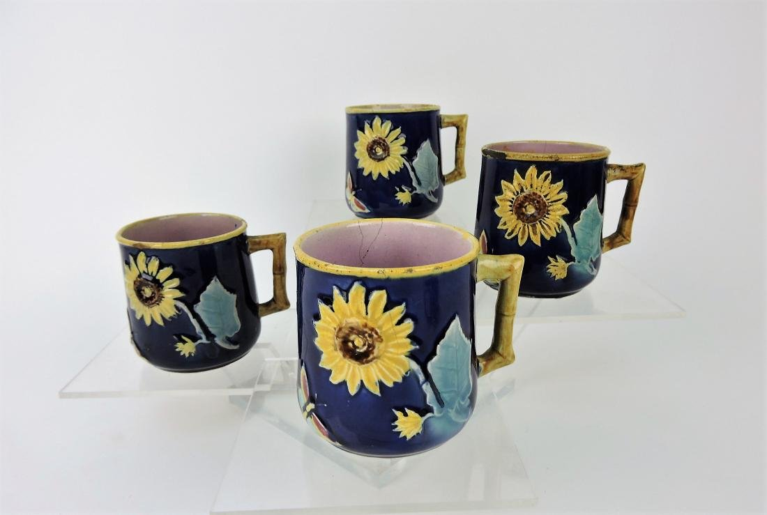 Majolica lot of 4 sunflower mugs,
