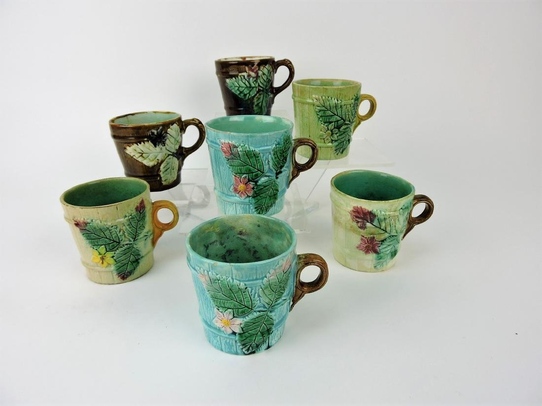 Majolica lot of 7 mugs,