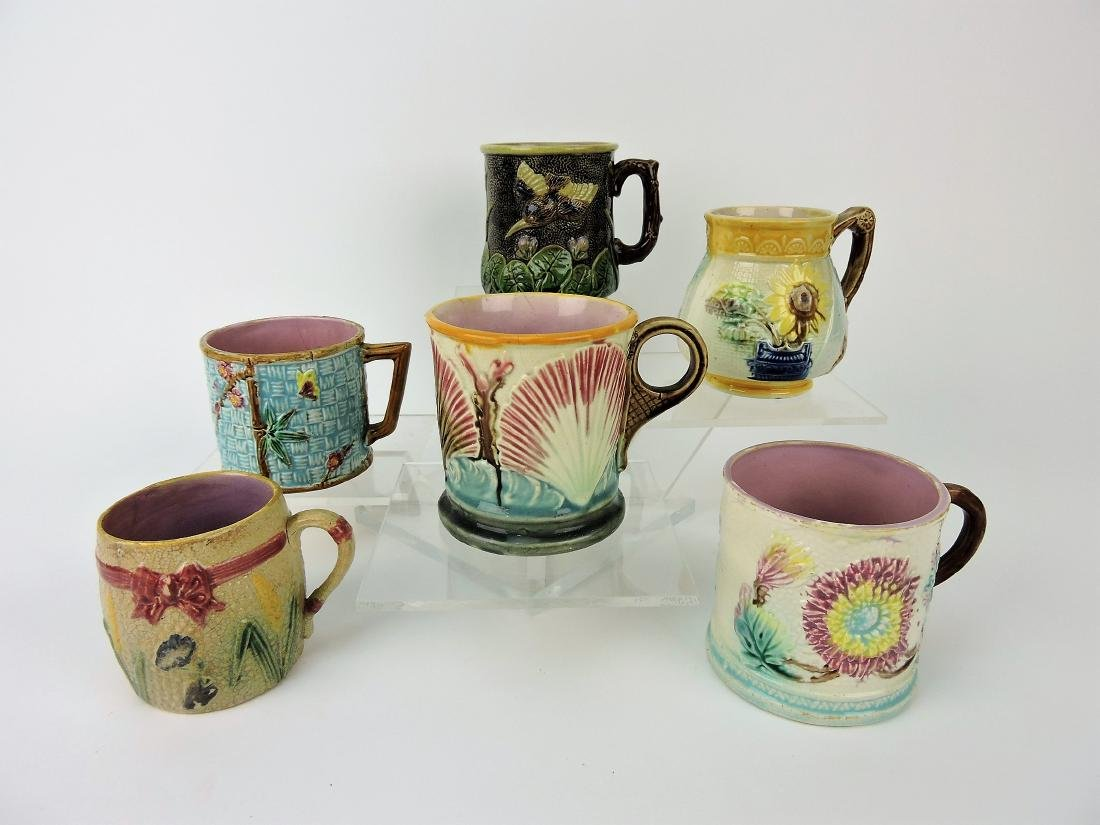 Majolica lot of 6 mugs,