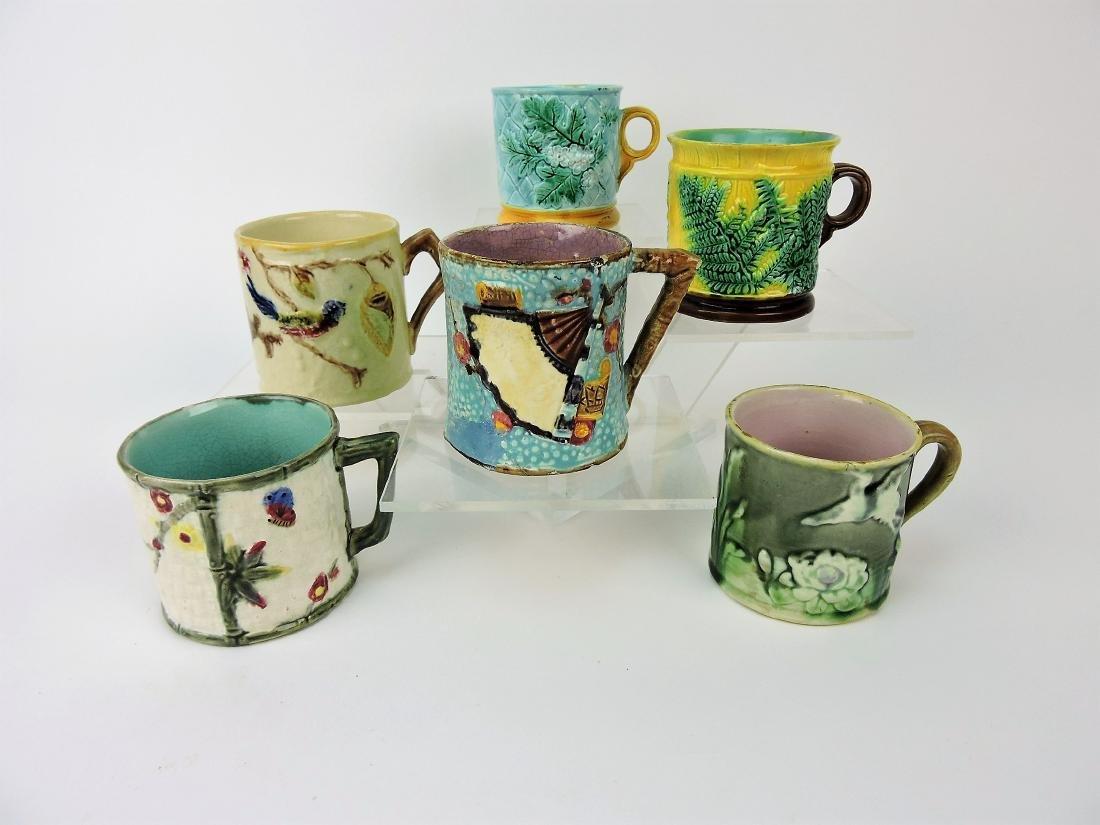 Majolica lot of 6 mugs,