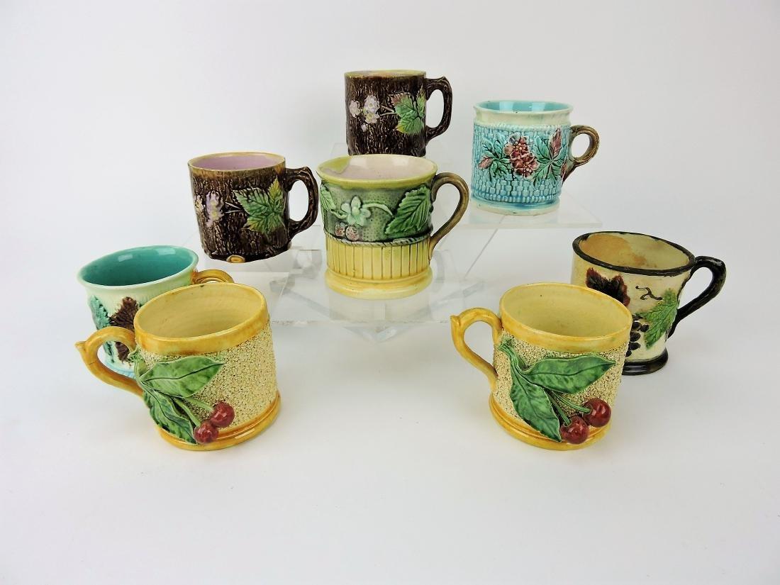 Majolica lot of  8 mugs,
