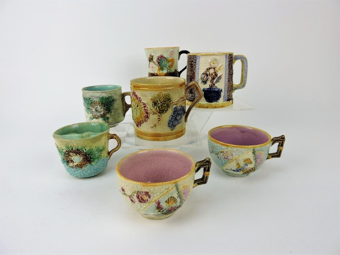Majolica lot of 4 mugs and 3