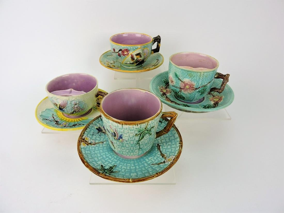 Majolica lot of 4 cups and