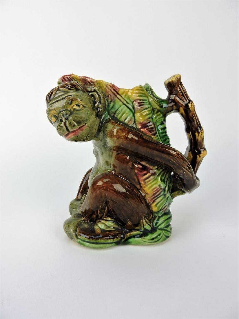Majolica figural monkey pitcher