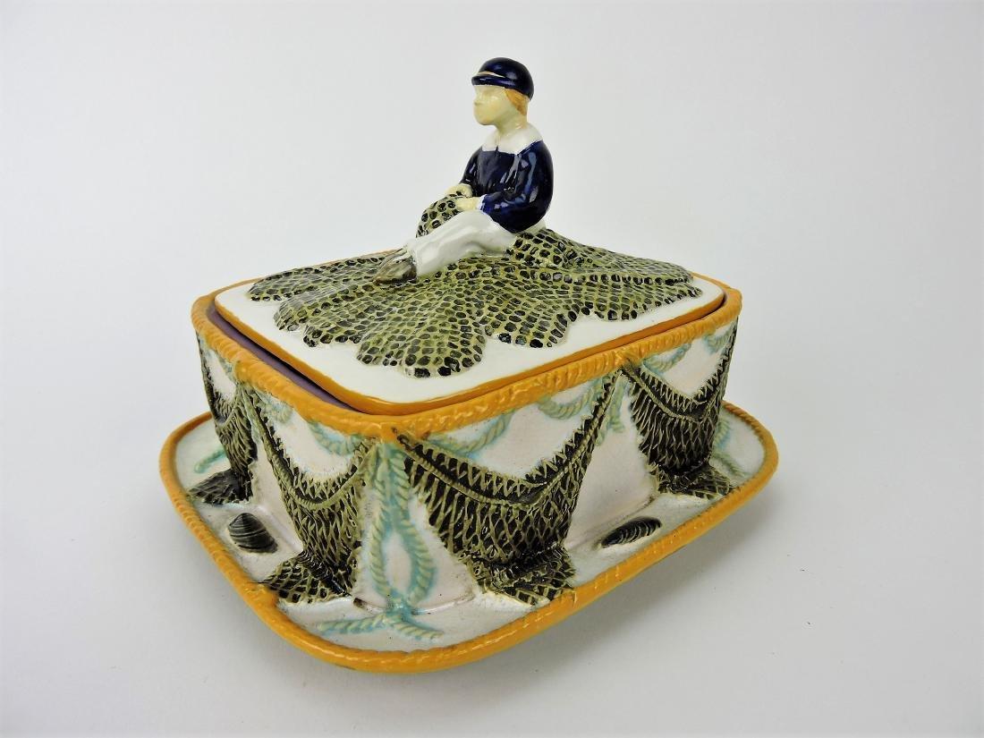 George Jones Majolica sardine box