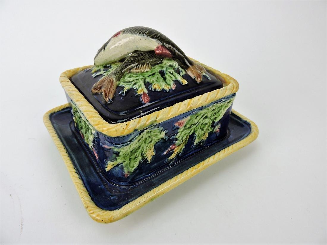 Majolica sardine box with fish on