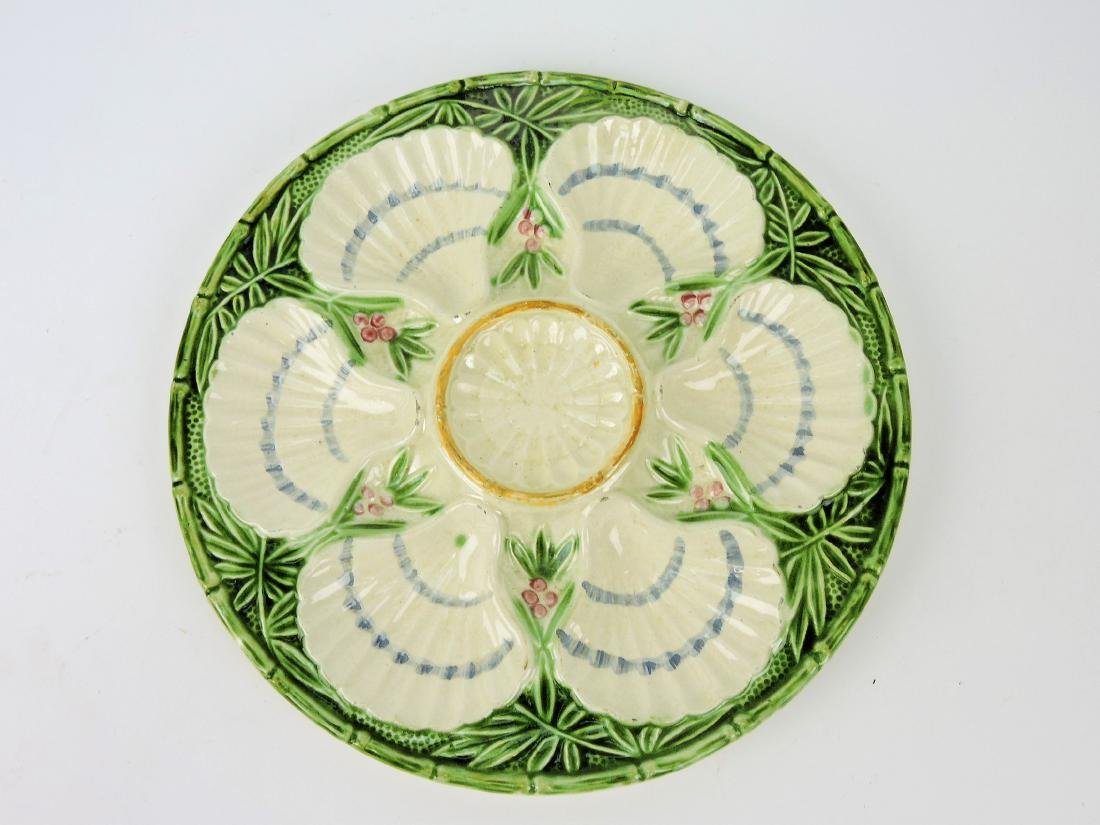 French 6 well majolica oyster plate,