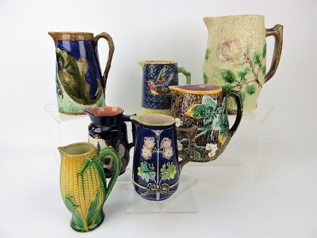 Majolica lot of 7 pitchers,