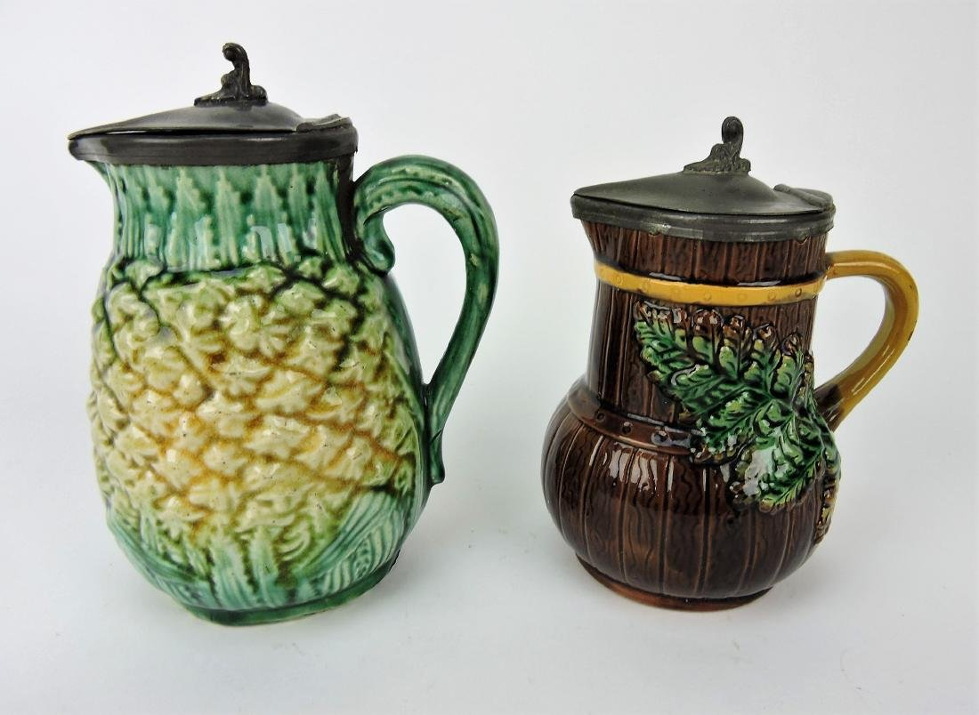 Majolica lot of 2 pewter top syrup