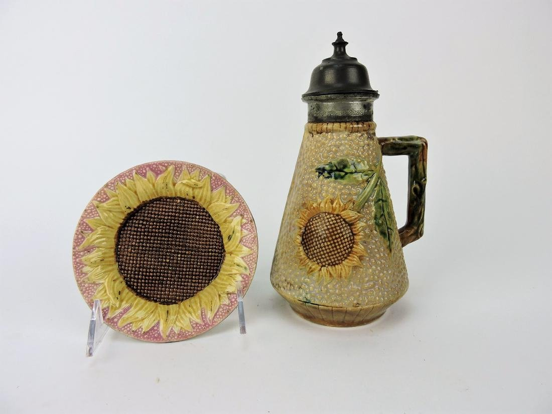 Estruscan Majolica pink sunflower