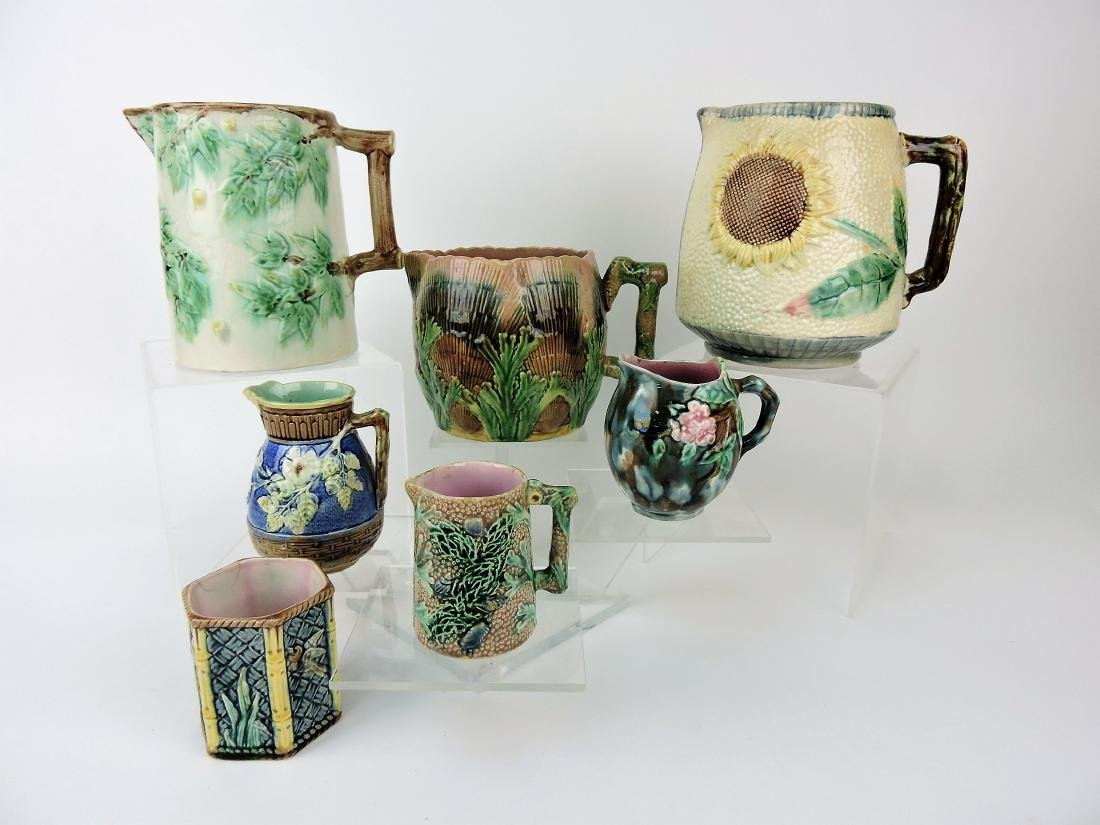 Etruscan Majolica lot of 6 pitchers