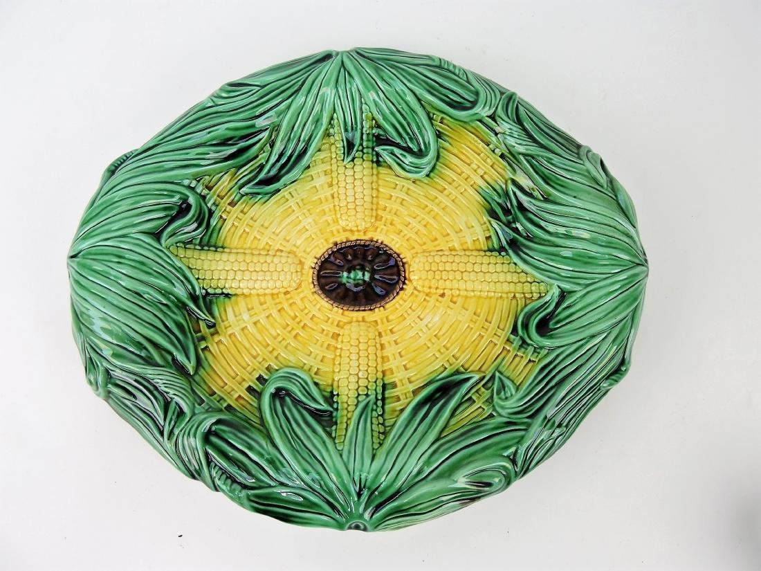 """Majolica corn tray, 13"""""""