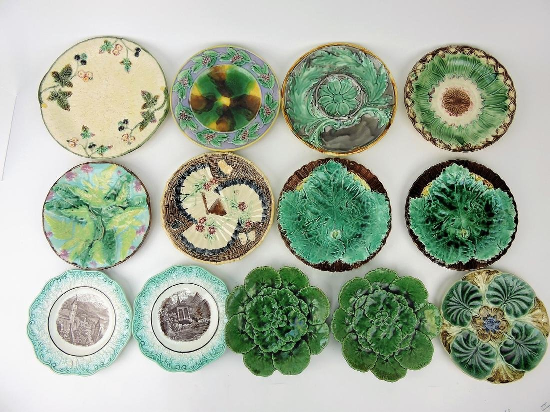 Majolica lot of 13 plates,