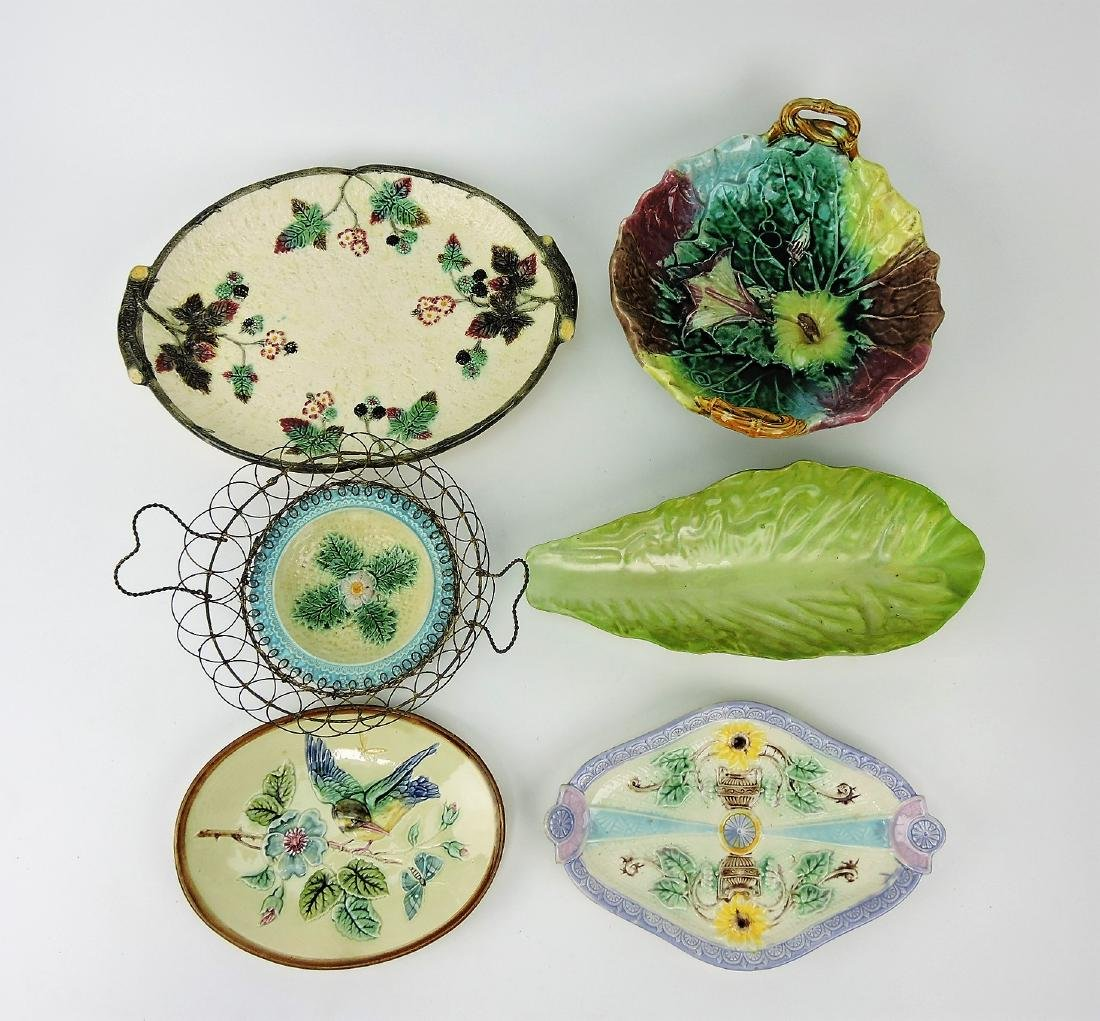 Majolica lot of 6 trays & compote,