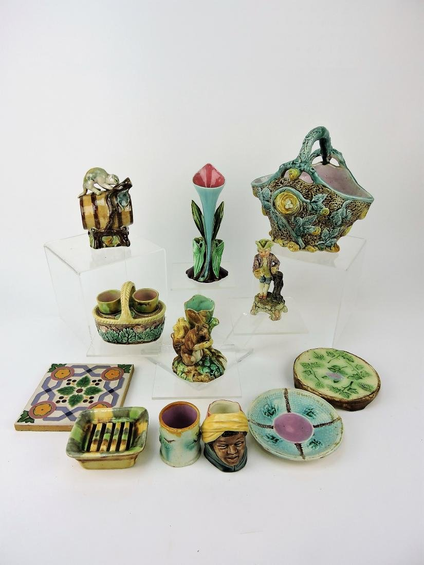 Majolica lot of 12 assorted items,