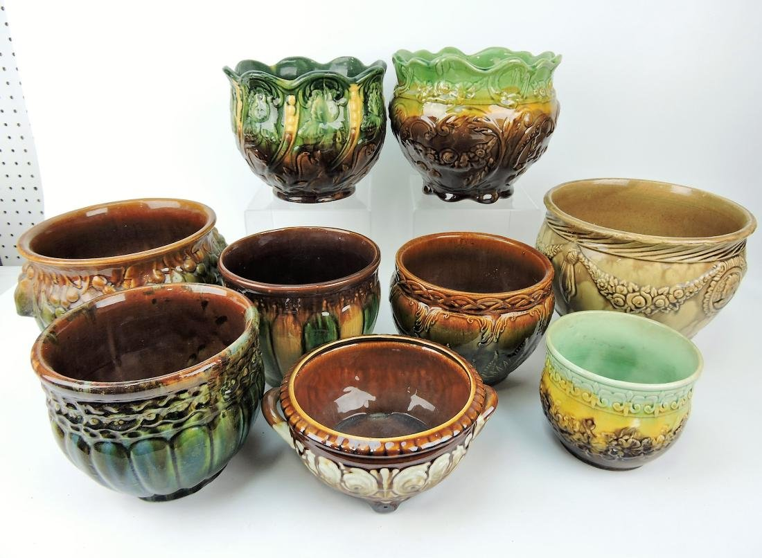 Majolica lot of 9 jardinieres,