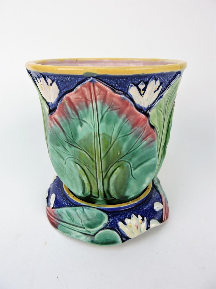 Majolica cobalt water lily cachepot
