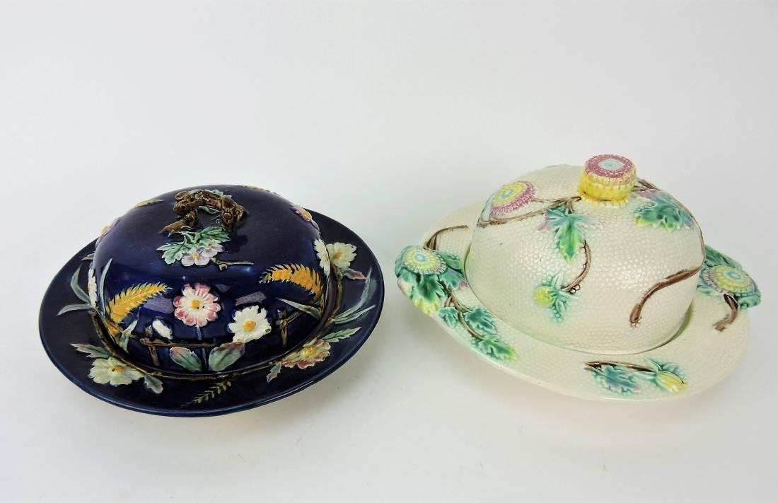 Majolica cobalt wheat and daisy