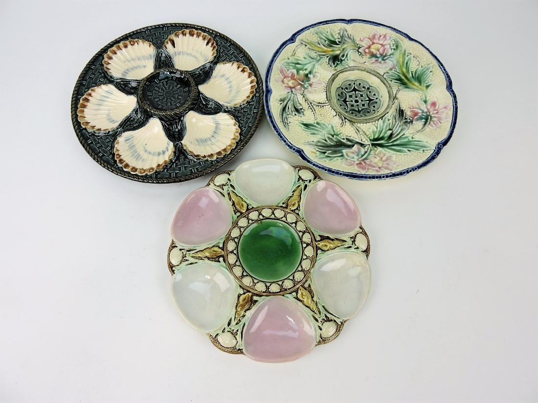 Majolica lot of 3 oyster plates