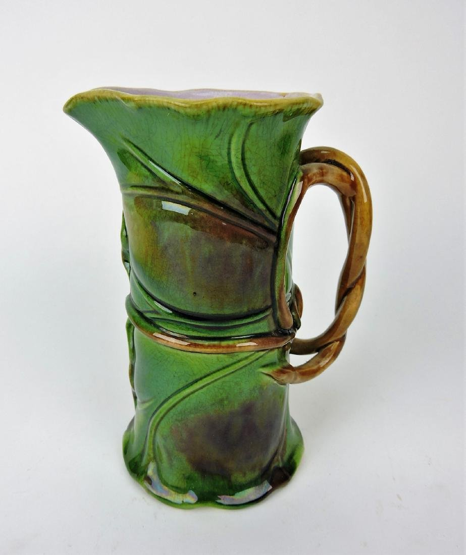 Minton Majolica leaf pitcher, 7""