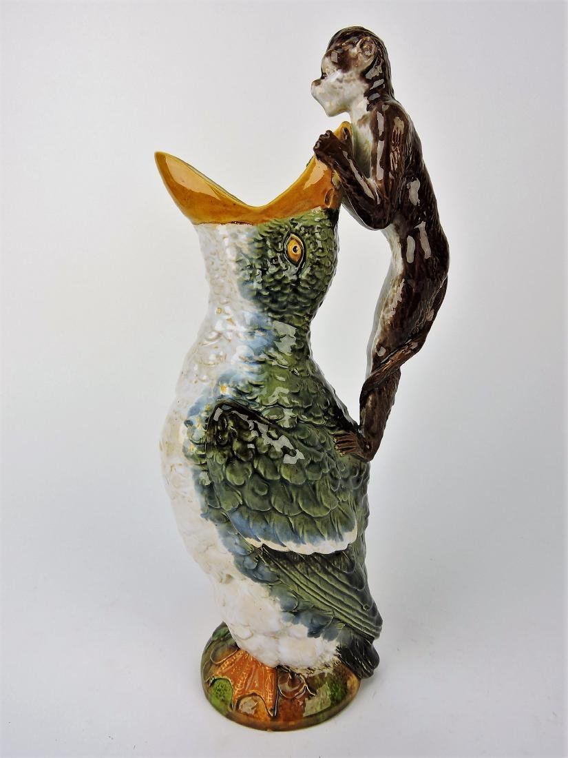 Brownfield Majolica duck pitcher with