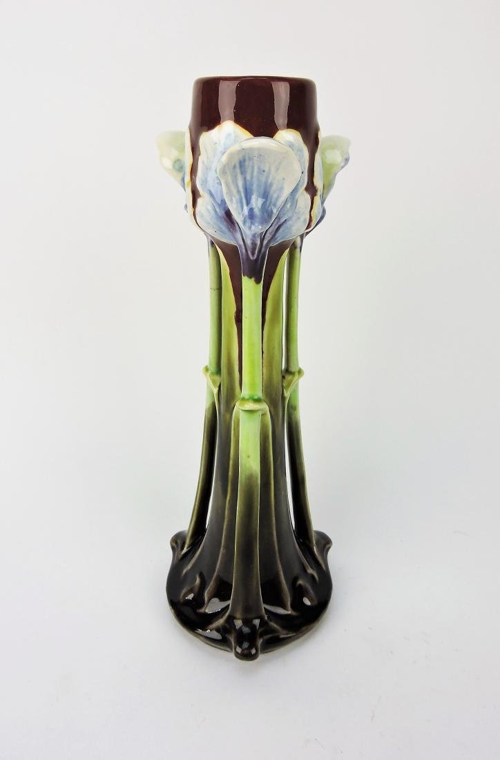 """Majolica 11 1/2"""" Art Noveau floral"""